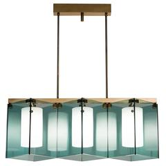 Fontana Arte Brass Chandelier with Blue Colored Glass