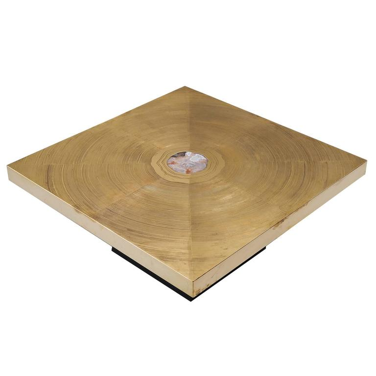 Lova Creation Brass and Gemstone Coffee Table For Sale