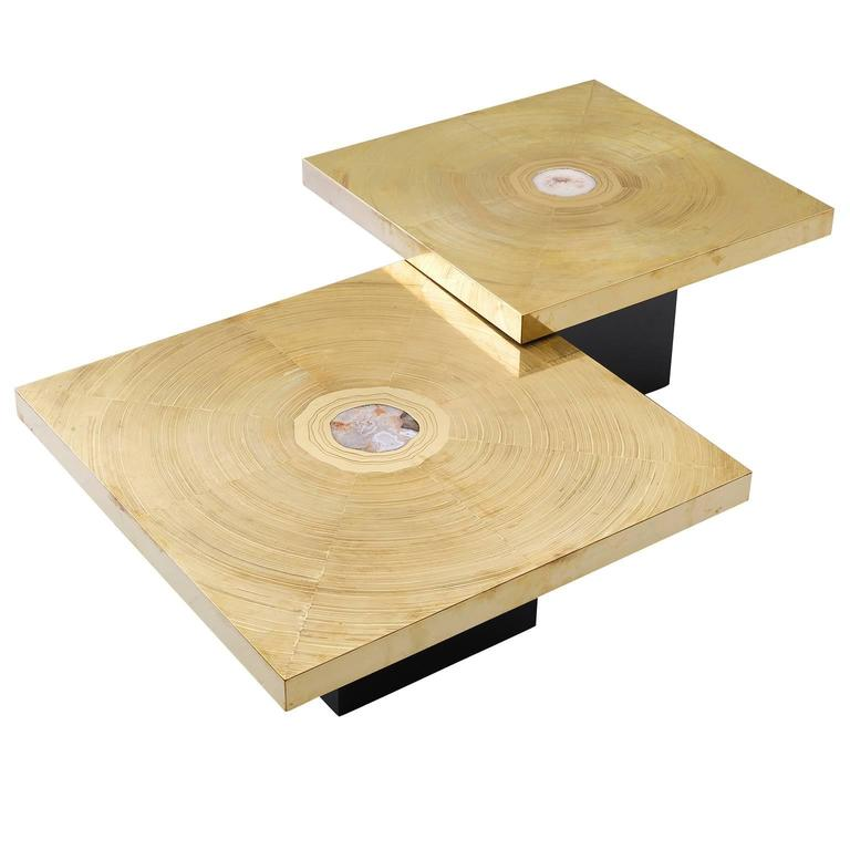 Lova Creation Set of Two Brass and Gemstone Coffee Tables 1