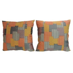 Pair of Vintage Asian Japanese Colorful Patchwork Decorative Pillows