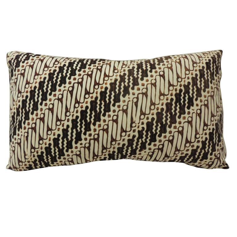 Decorative Bolster Pillow Black : Vintage Brown and Black Batik Decorative Bolster Pillow For Sale at 1stdibs