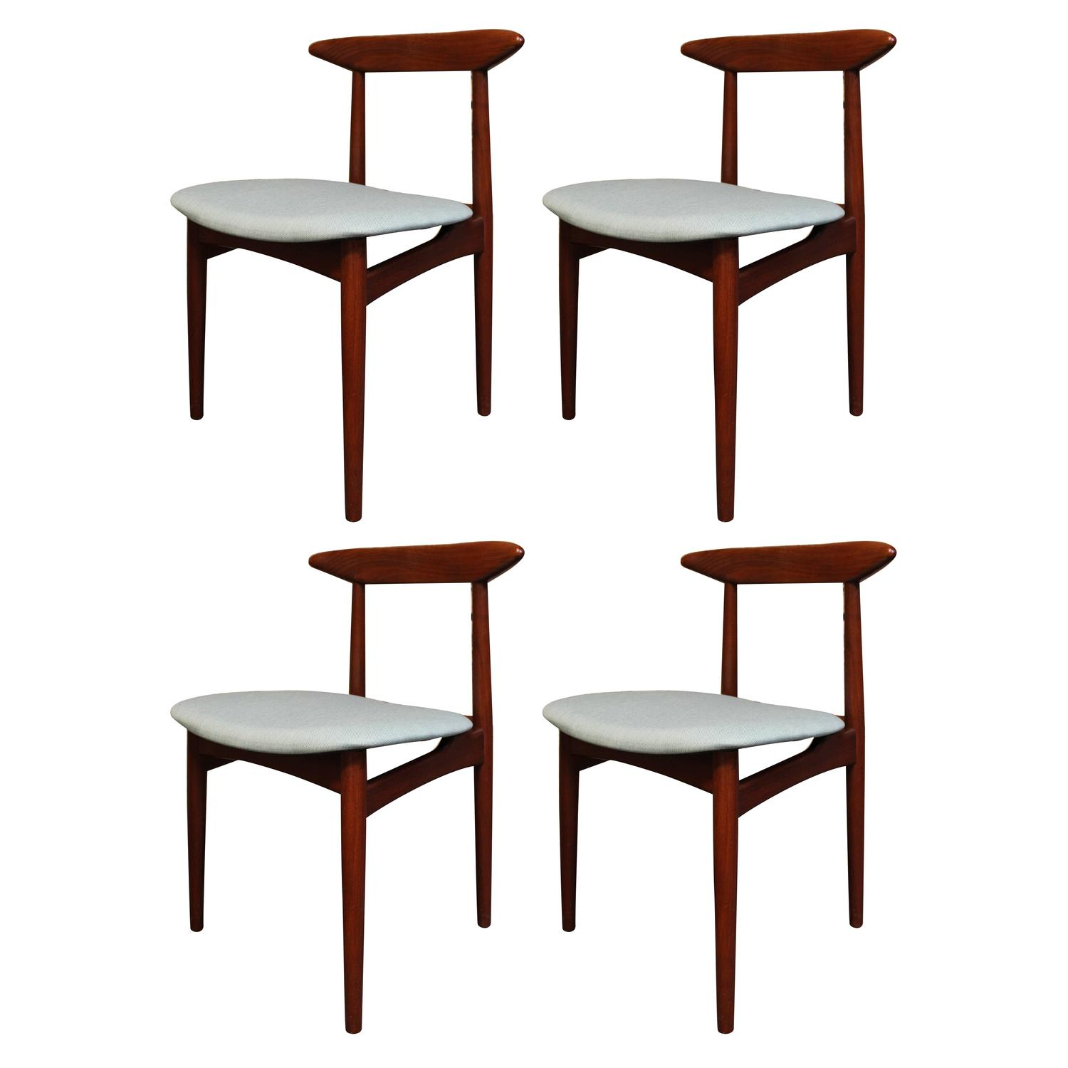 Four Danish Modern Teak Dining Chairs At 1stdibs