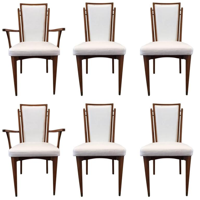 Set of Six Walnut Italian Dining Chairs  For Sale