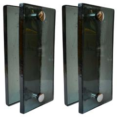 Pair of Push and Pull Glass 1960s Door Handles