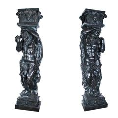 Monumental Pair of Patinated Bronze Atlas Columns