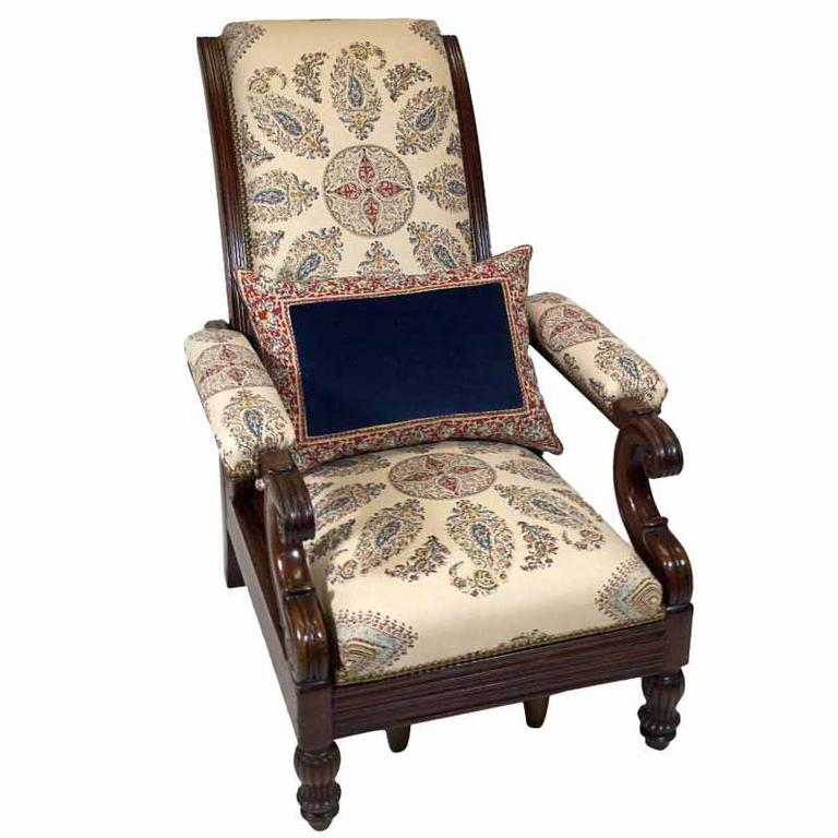 Late Empire Mahogany Armchair Featuring Hand-Printed Blue and Red Paisley Linen 1