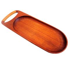 1950s Solid Teak Danish Modern Rare Serving Tray with Cane Handle
