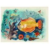 """Tropical Fish,"" Brilliant Art Deco Undersea Painting, Hawaii, 1942"