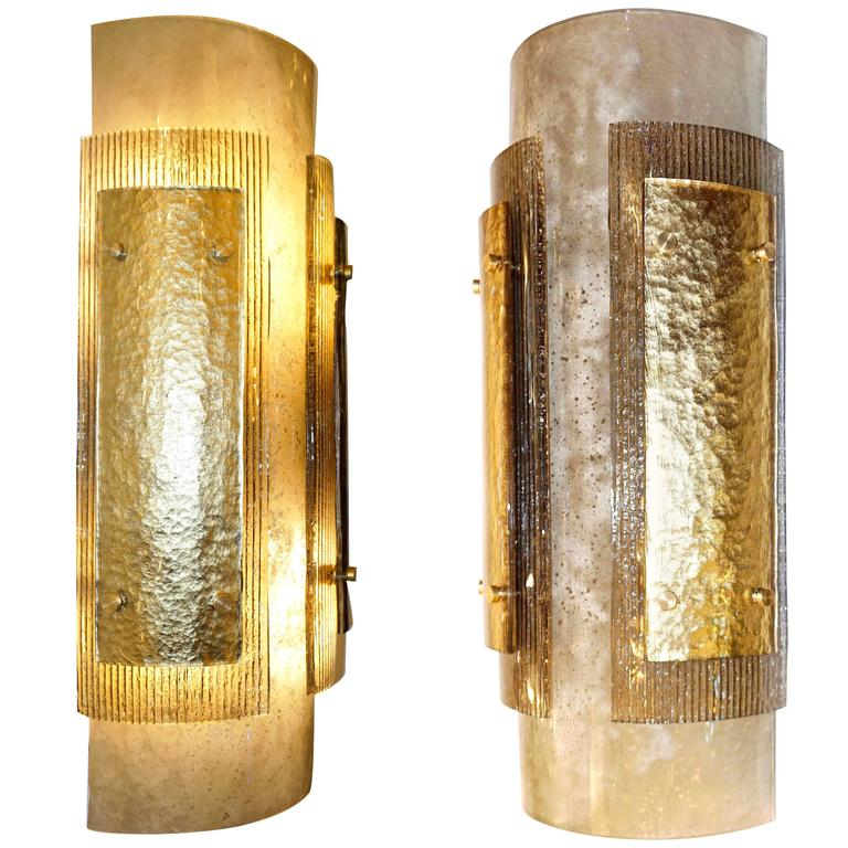 Italian Pair of Modern Gold Smoked Gray and Frosted Ivory Murano Glass Sconces