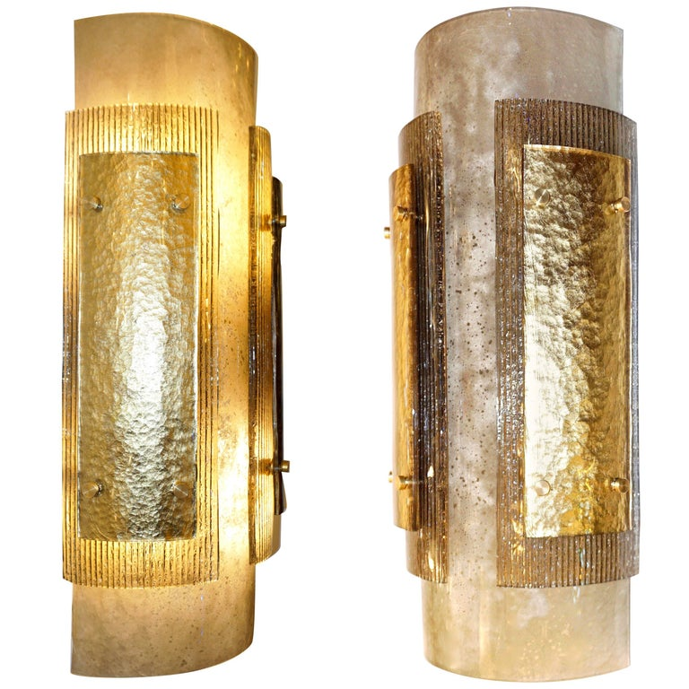 Italian Pair of Modern Gold Smoked Gray and Frosted Ivory Murano Glass Sconces For Sale