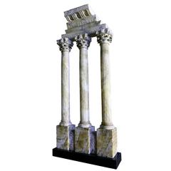 """28"""" c. 1870 Grand Tour Alabaster Model of the Temple of Castor & Pollux, Rome"""