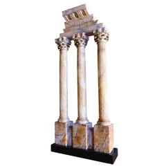 "28"" c. 1870 Grand Tour Alabaster Model of the Temple of Castor & Pollux, Rome"