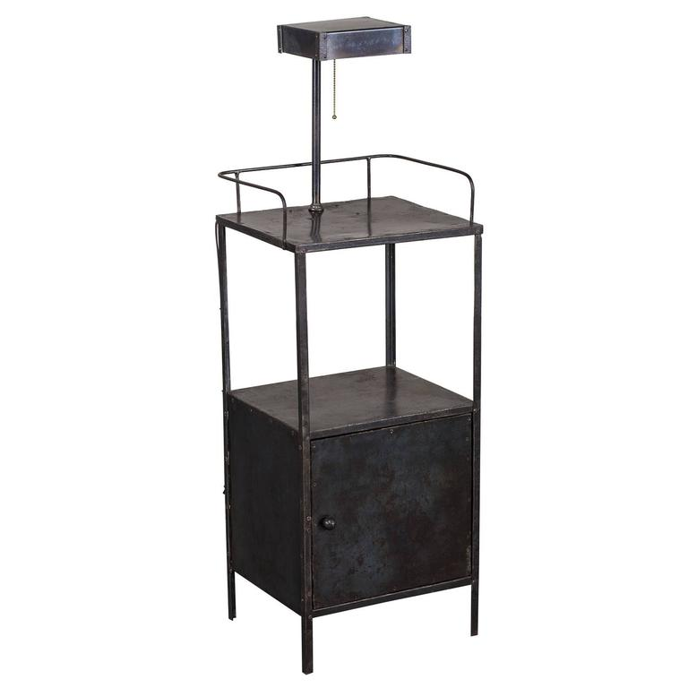 Vintage Industrial French Metal Cabinet with Light circa 1940