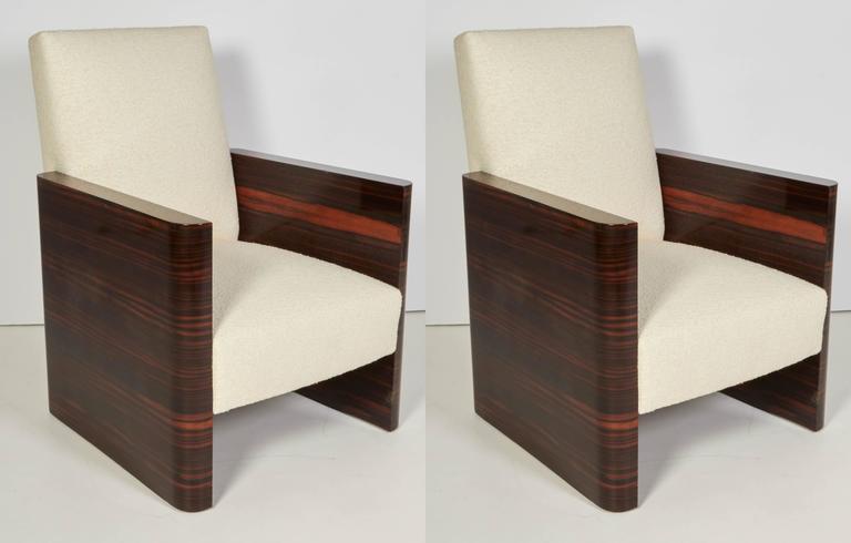 Pair of French Art Deco Macassar Wood Armchairs 3