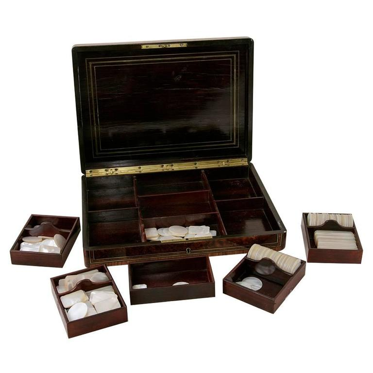 Rare Signed Paul Sormani Marquetry Game Box with Mother-of-Pearl Gambling Chips  For Sale