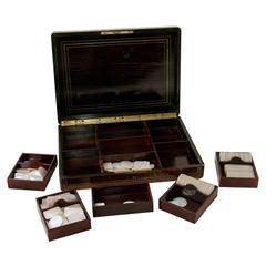 Rare Signed Paul Sormani Marquetry Game Box with Mother-of-Pearl Gambling Chips