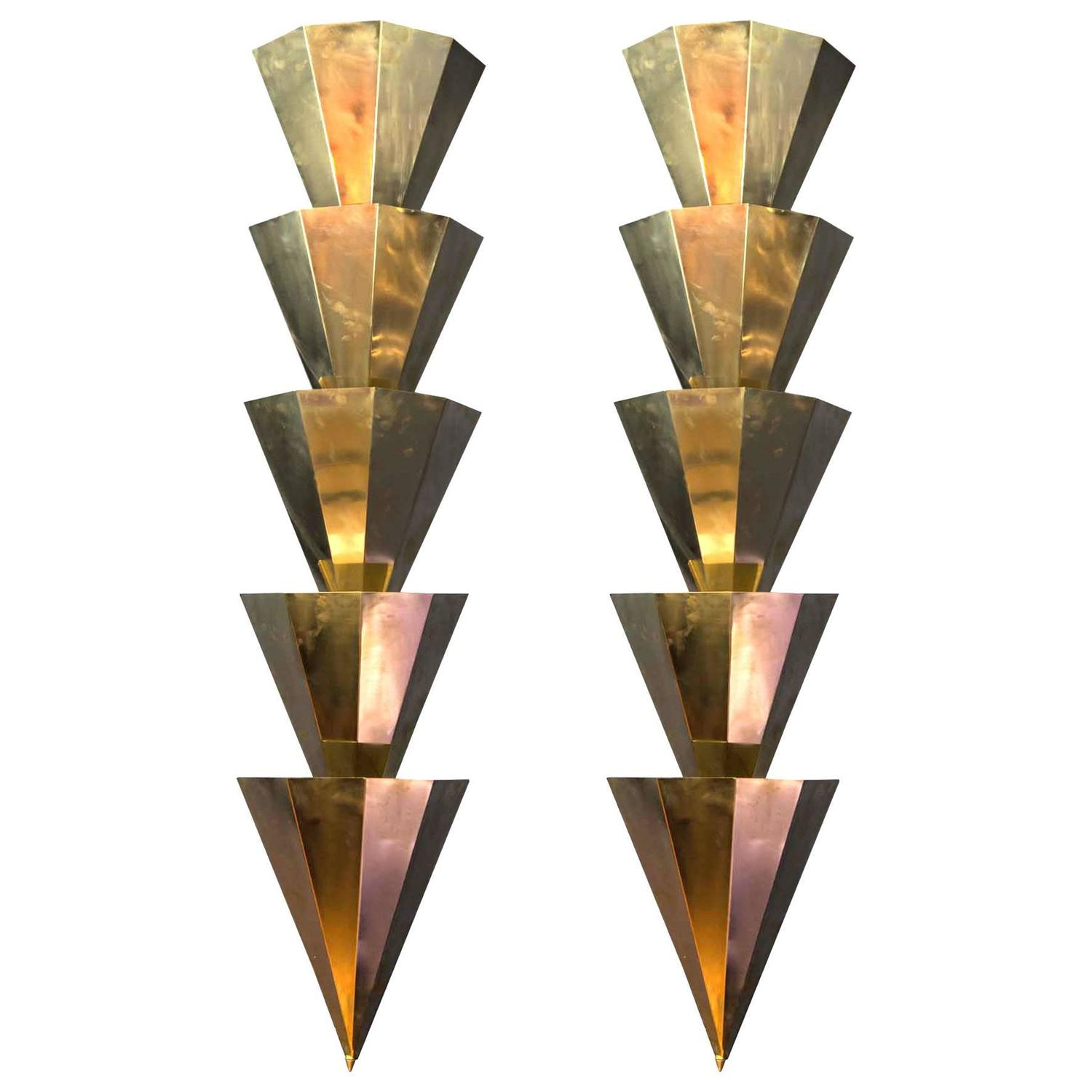 Wall Sconces Long : Pair of Long Shape Brass Sconces For Sale at 1stdibs