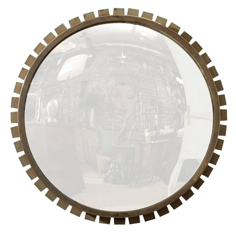 Vintage Industrial Convex Mirror For Sale