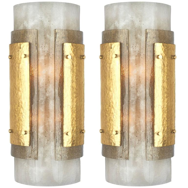 Pair of Italian Art Deco Murano Glass Sconces