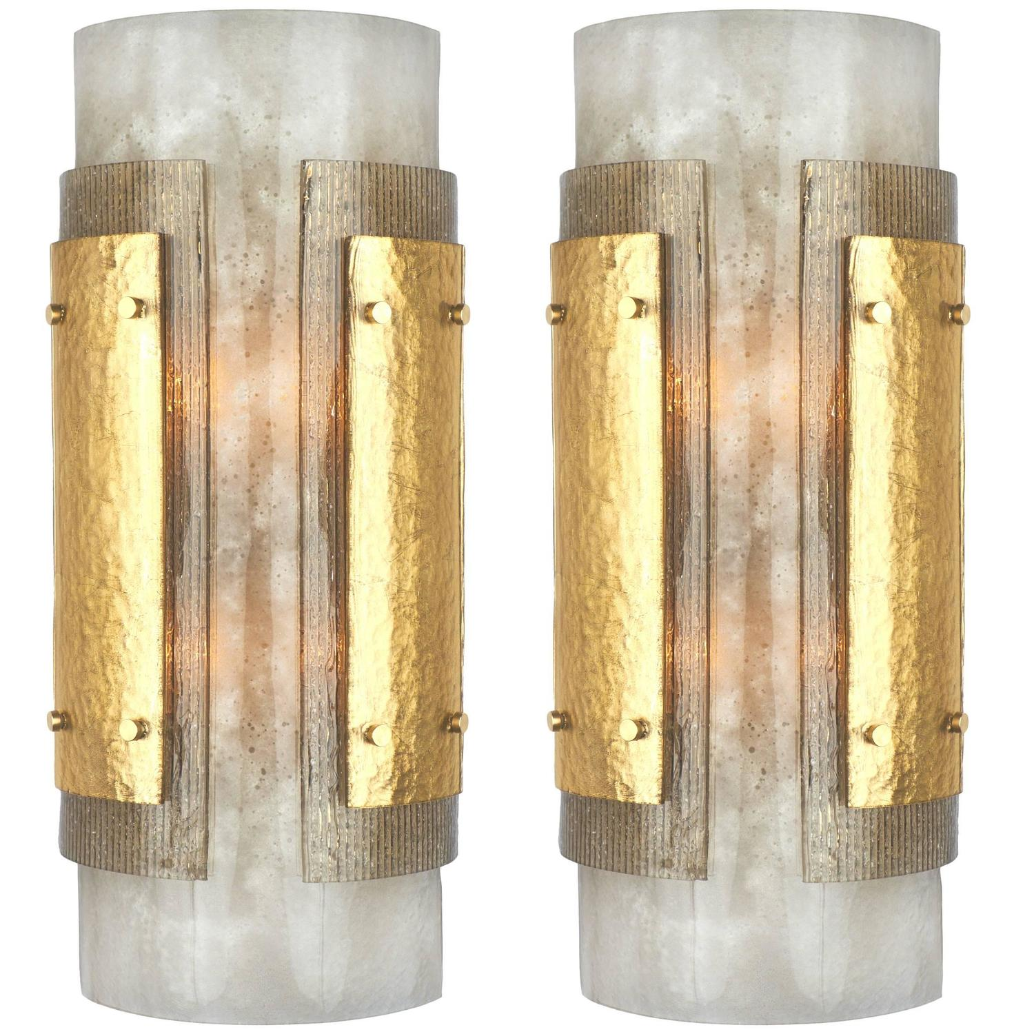 pair of italian art deco murano glass sconces for sale at 1stdibs