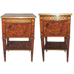 Wonderful French Pair Marble Floral Inlaid Marquetry Ormolu Mounted End Tables