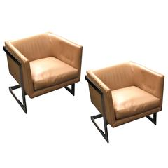 "Pair of Milo Baughman ""Cube"" Chairs with Chromed Metal ""T"" Back"
