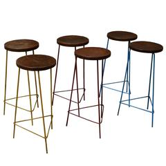 Pierre Jeanneret Unique Set of Six Hight Stools