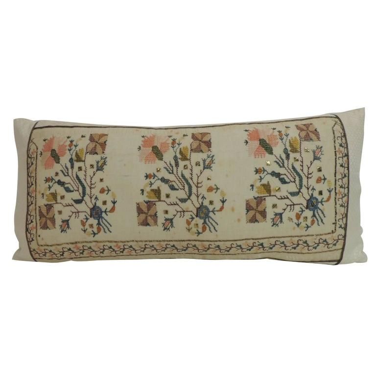 19th century turkish embroidered linen and silk decorative lumbar pillow 1 - Decorative Lumbar Pillows