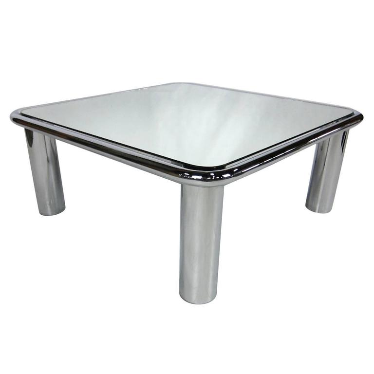 Chrome And Mirror Coffee Table In The Style Of Gianfranco Frattini For Cassina For Sale At 1stdibs