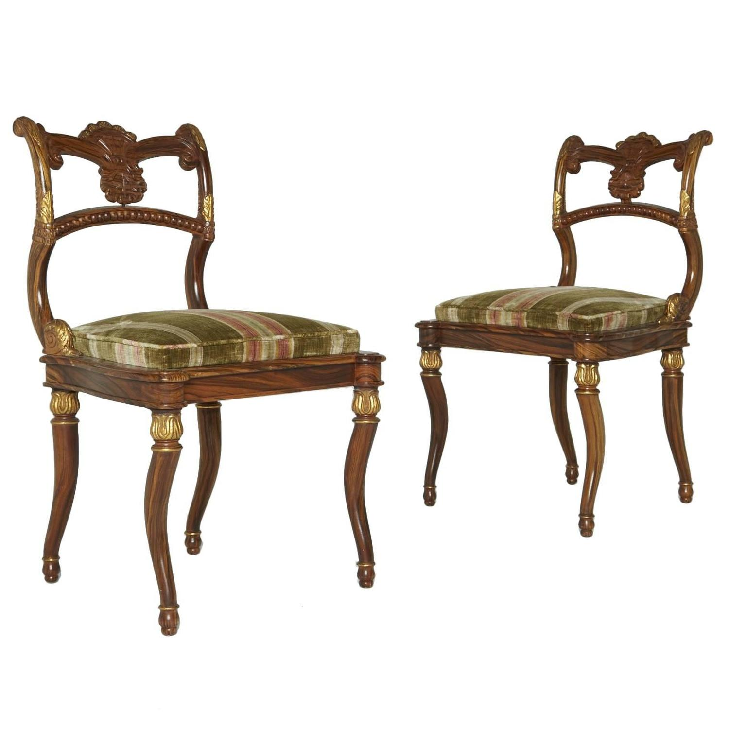 Awesome Pair Neoclassical Gilded French Empire Style Chairs With Green Upholstery
