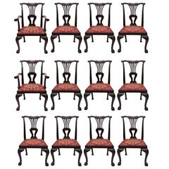 Set of 12 Antique English Mahogany 19th Century Dining Chairs