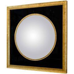 American Black Glass Bulls Eye Mirror Gold Frame
