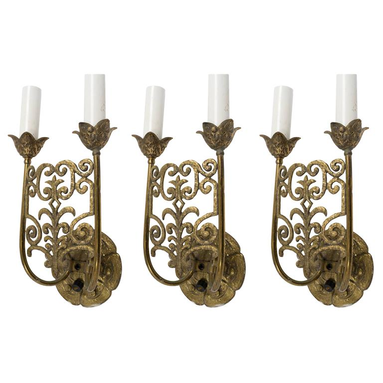 Gothic Wall Sconces: 3 Gothic Brass Wall Sconces For Sale At 1stdibs