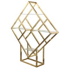 Modernist Geometric Brass Diamond Shaped Étagère by Milo Baughman
