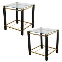 Mid-Century Modern Pr. of Wood & Brass Side Tables, Attrib. Harvey Probber