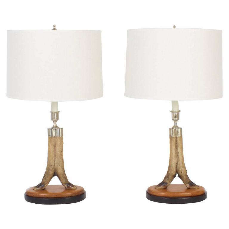 Vintage Pair of Deer Hoof Table Lamps