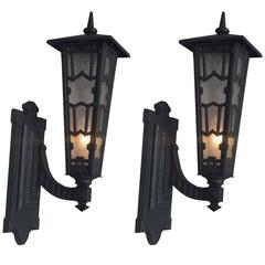 Pair of Outdoor Edwardian Cast Iron Sconces