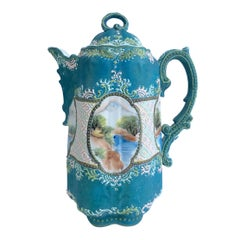 "19th Century Japanese Porcelain Hand Painted Moriage Porcelain ""Chocolate"" Pot"