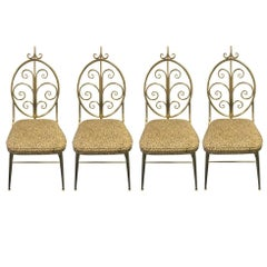 Set of Four Fabulous Mid-Century Modern Brass Dining Chairs