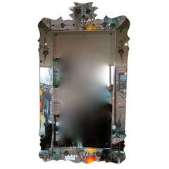 Large 1940's Etched Fontana Arte Mirror, Documented, circa 1947