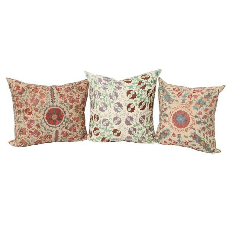 Large Pillow with Suzani Embroidery