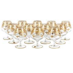 Murano Crystal Set of 12 Cognac / Snifter with 24-Karat Gold Design