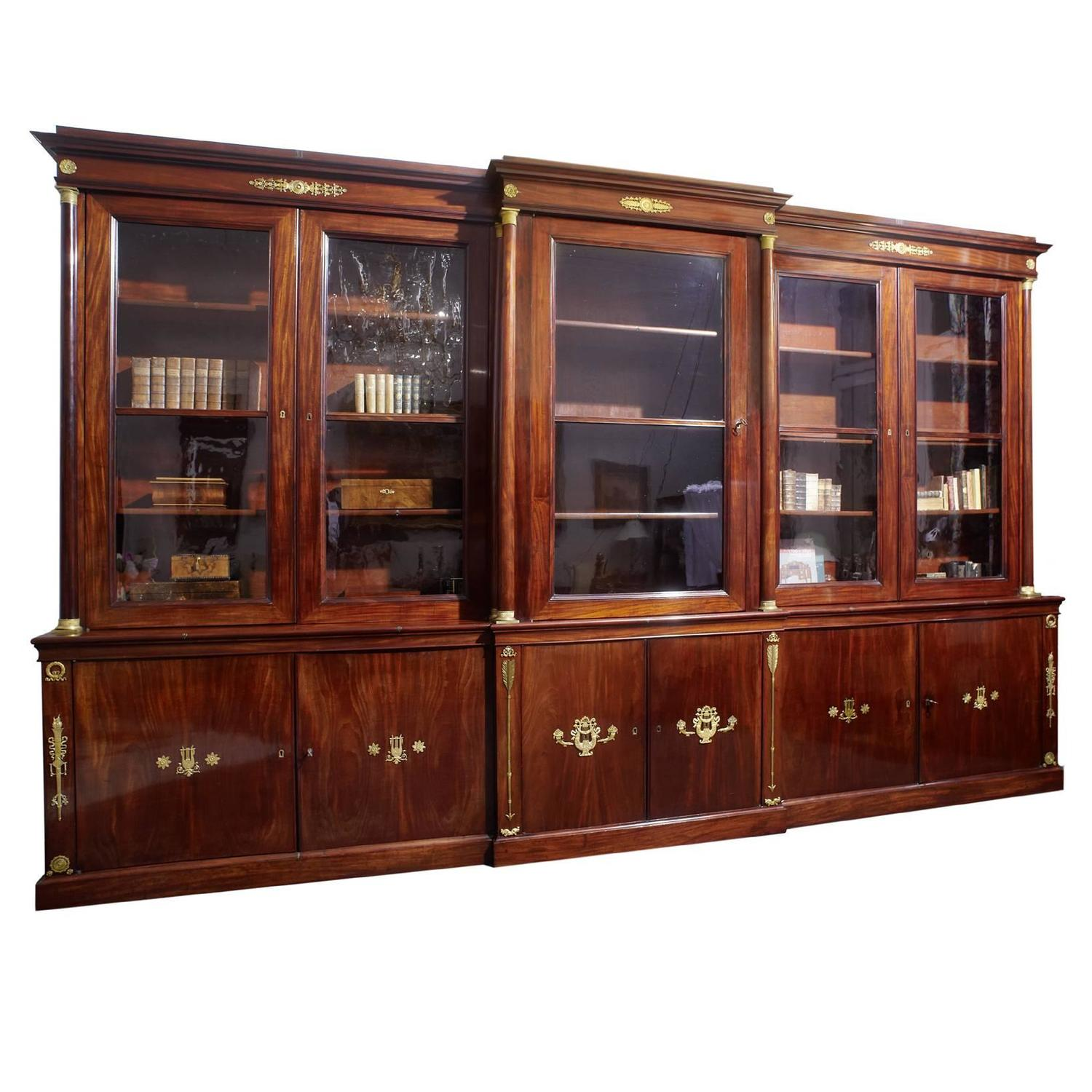 Very Large Empire Mahogany Library Bookcase For Sale At