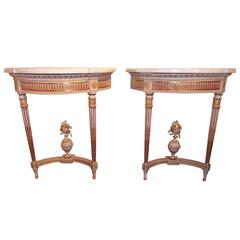 Pair of Louis XVI Style Giltwood and Painted Consoles