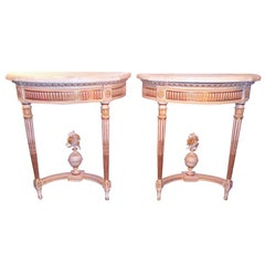 Pair of Louis XVI Style Water Giltwood and Painted Consoles
