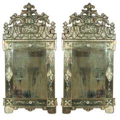 Pair of German Venetian Style Mirrors
