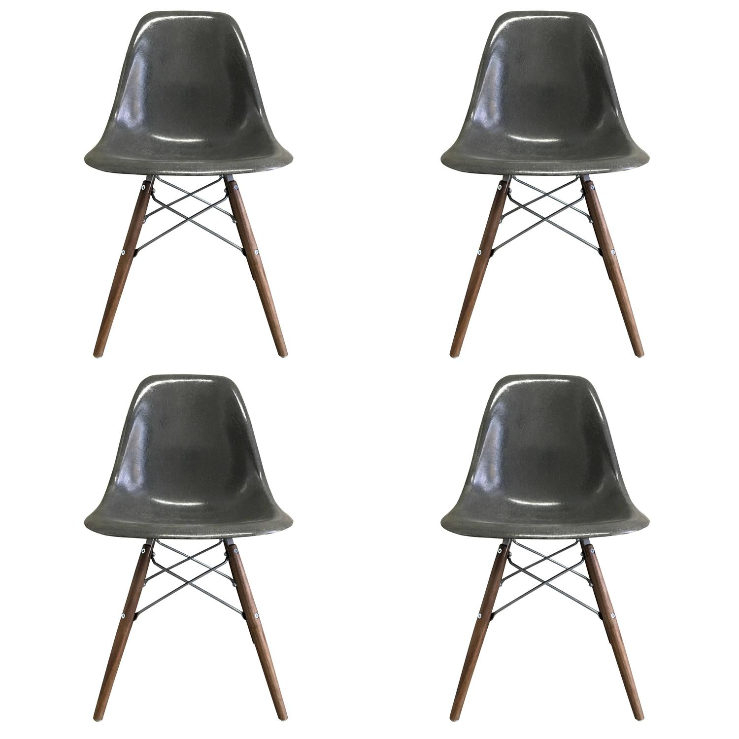 Four Herman Miller Eames Elephant Grey Dining Chairs For