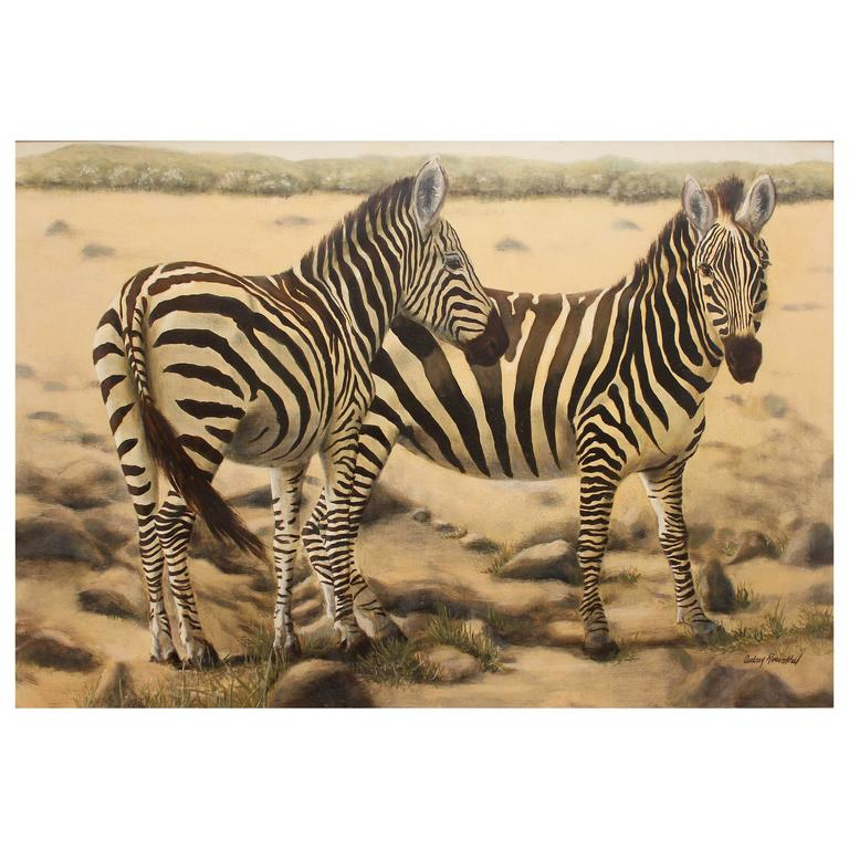 """Large Oil Painting """"African Zebra"""""""