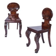Irish 19th Century Pair of Architectural Hall Chairs with Shell Backs