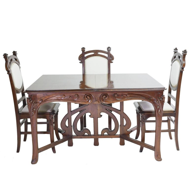 Art Nouveau Dining Suite with Six Chairs and Extension Table, France, circa 1900